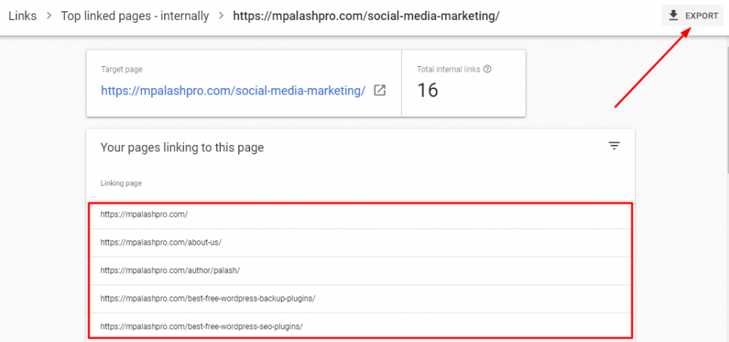 Page specific internal links