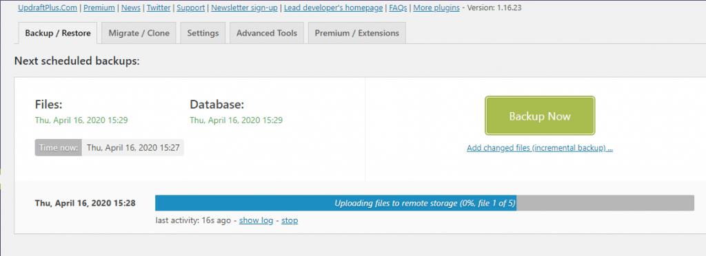 Updraftplus free WordPress backup plugin