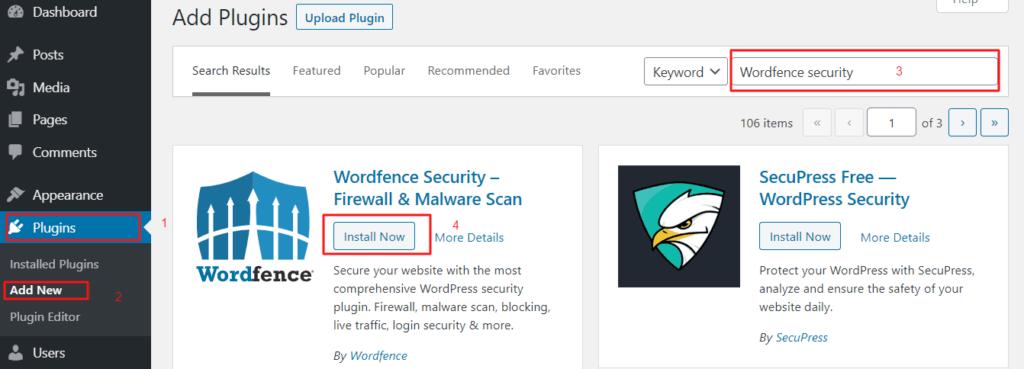 Install Wordfence security plugin