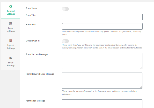 WP Subscription Forms setting