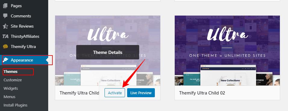 Activate child theme