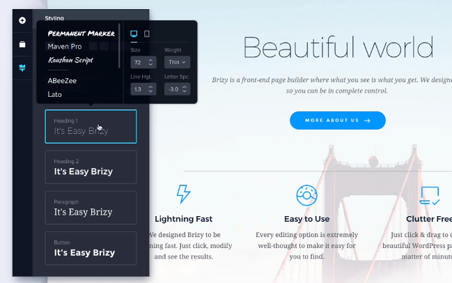 Brizy theme builder