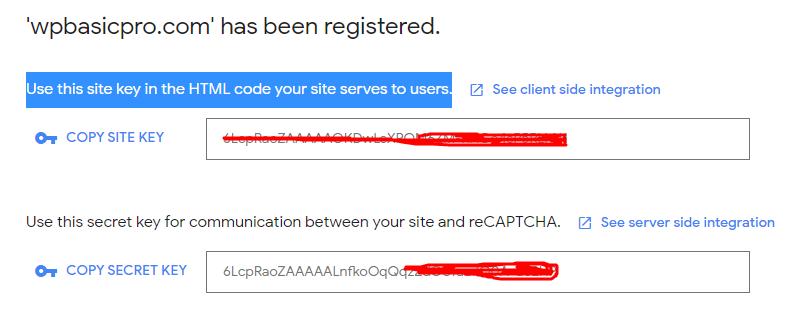 Google captcha site key