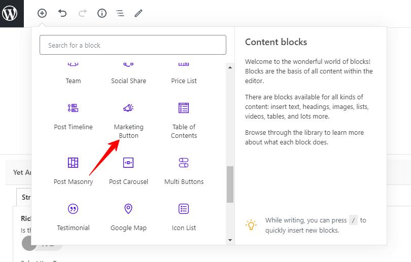 Gutenberg block button