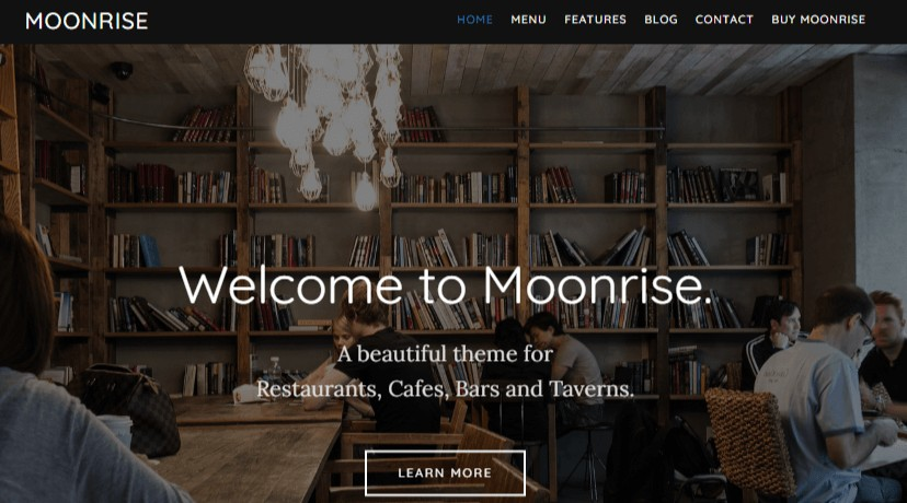 Moonrise WordPress Restaurant theme
