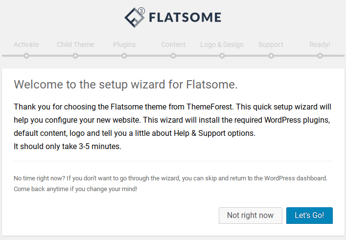 flatsome theme review setup wizard