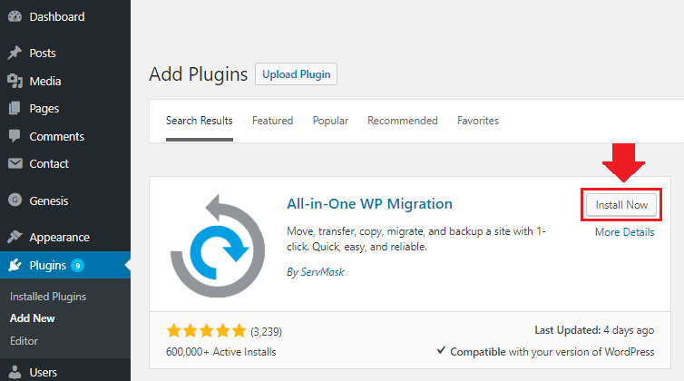 Install all in wp migration plugin
