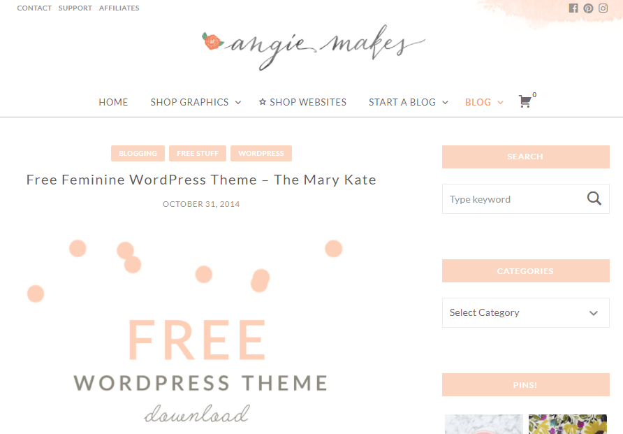 Mary Kate feminine WordPress theme