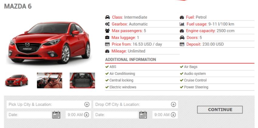 Native Car Rental Booking Form