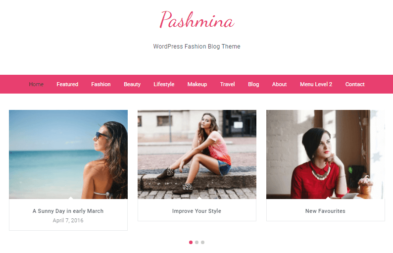Pashmina feminine WordPress theme