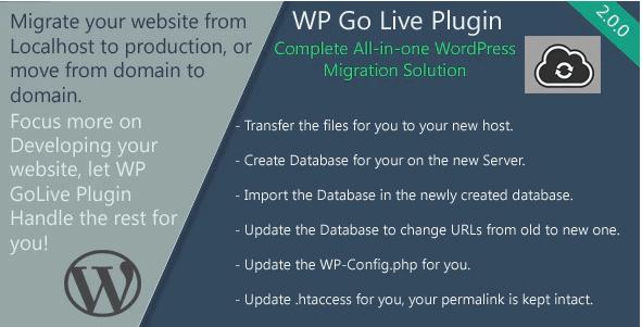 WP GoLive migration plugin