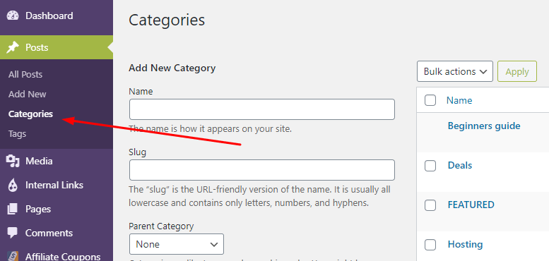 Create WordPress Categories