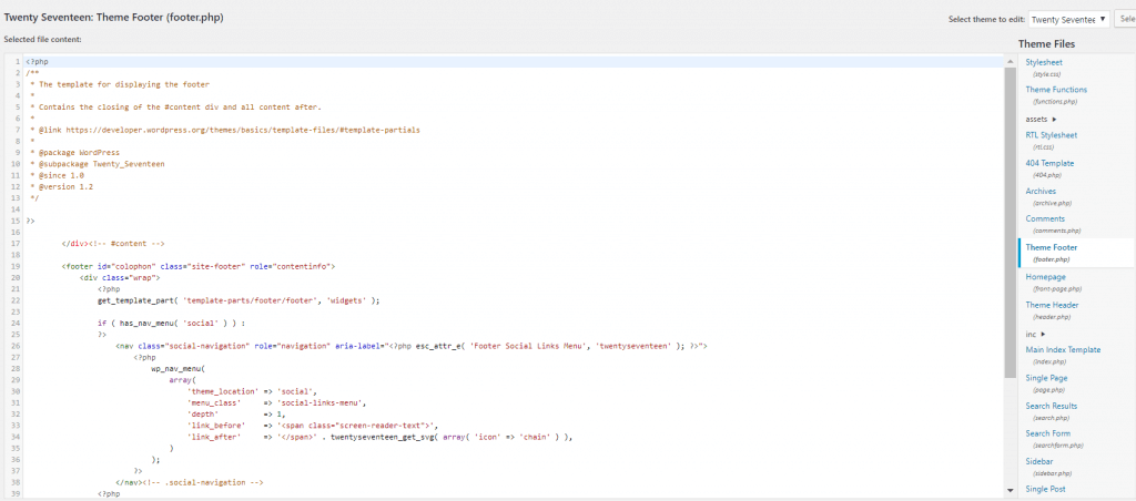footer php