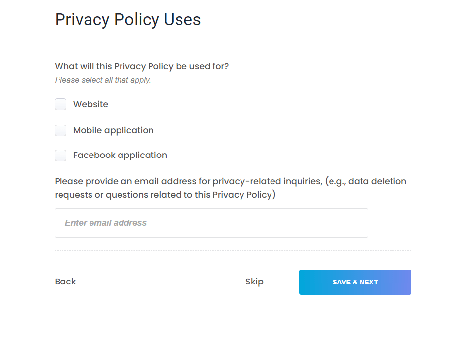 Privacy Policy Uses