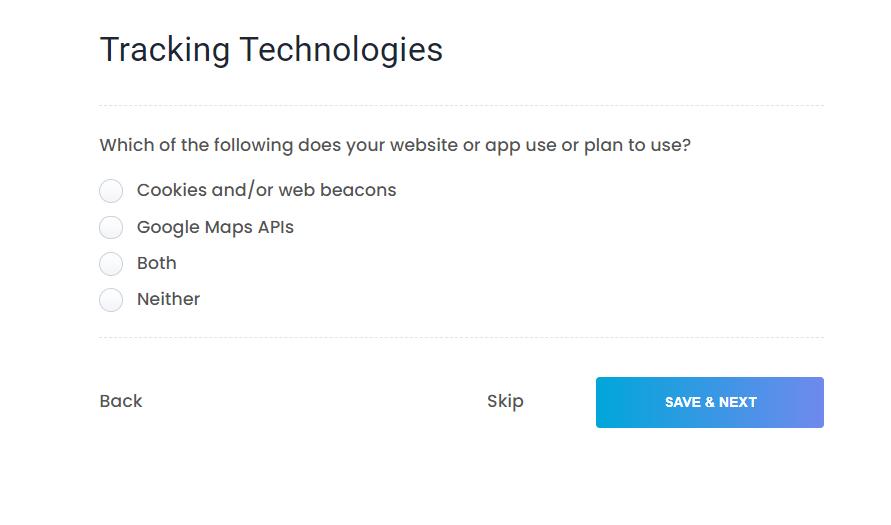 Tracking Technologies setting