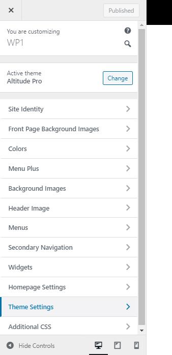 Altitude Pro theme settings