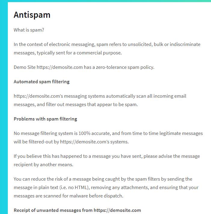 Example of Antispam content
