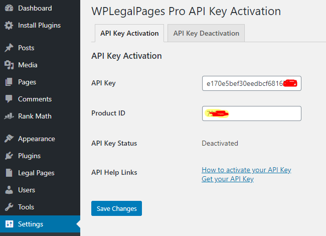 WordPress Legal Page Activation.