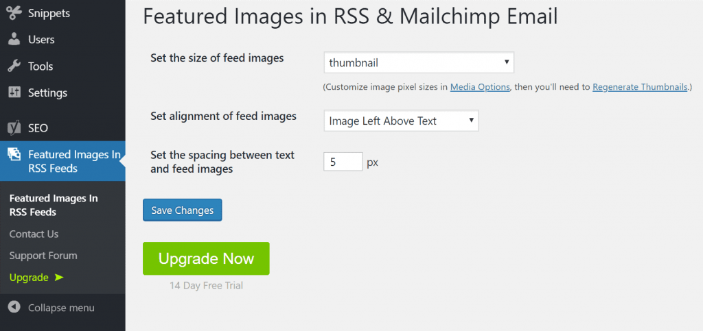 Featured Images in RSS for Mailchimp