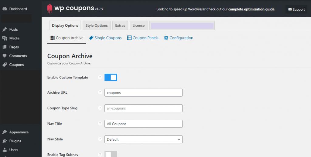 WP Coupons display options