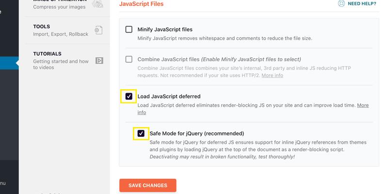 WP Rocket defer parsing of javascript