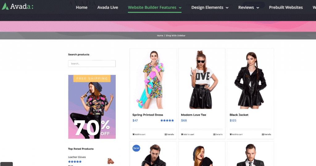avada theme web shop