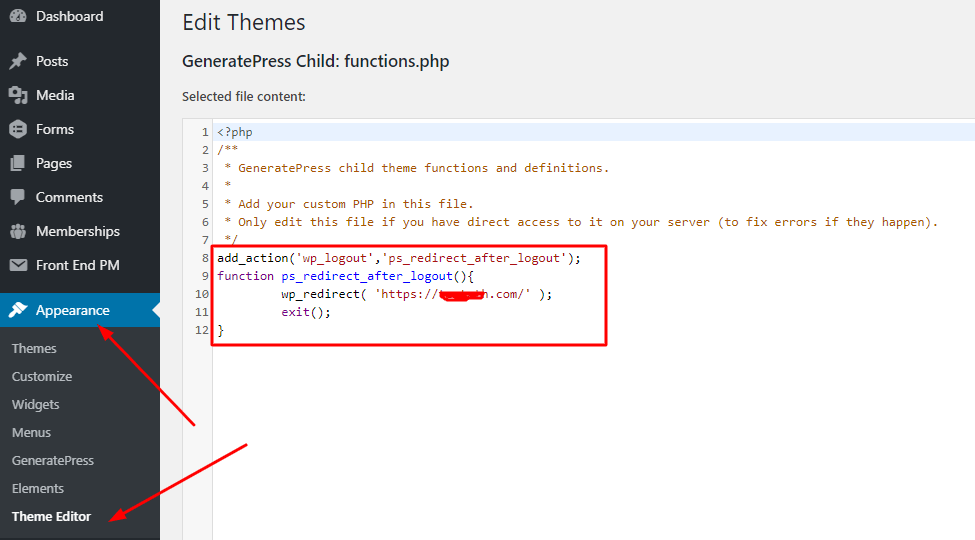 logout redirect code