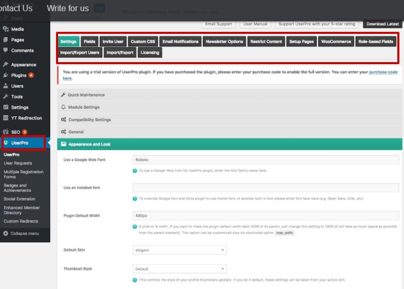 UserPro WordPress interface