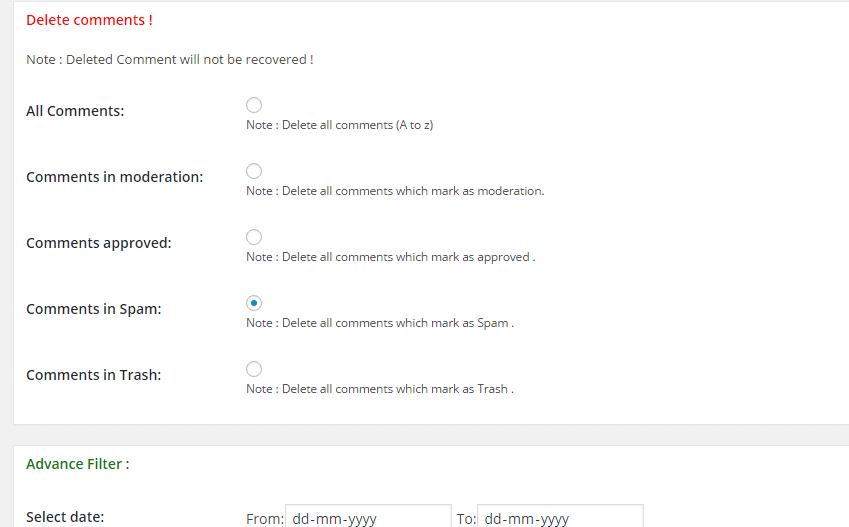 delete cooments settings