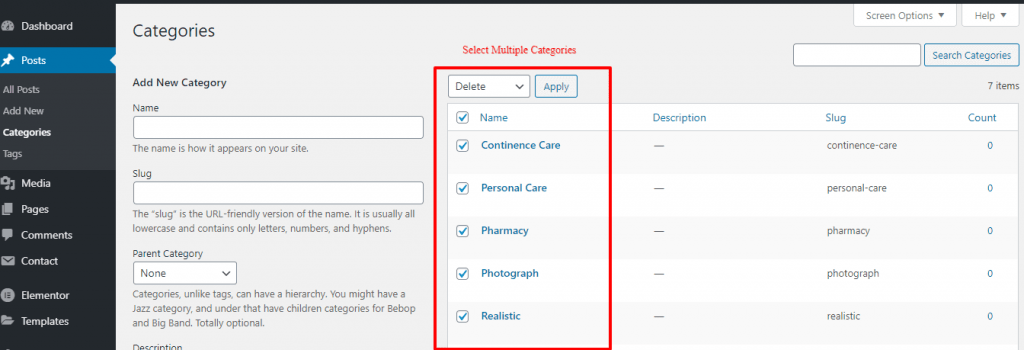 Delete Multiple Categories