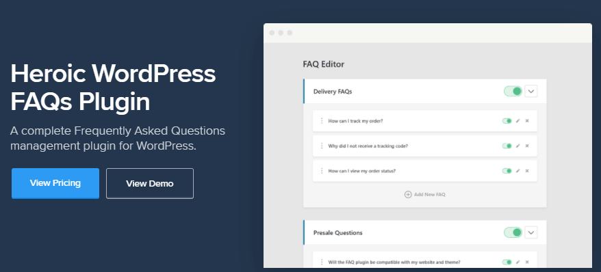 Heroic WordPress FAQs plugin