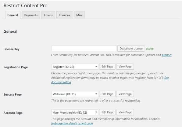 Restrict Content Pro options