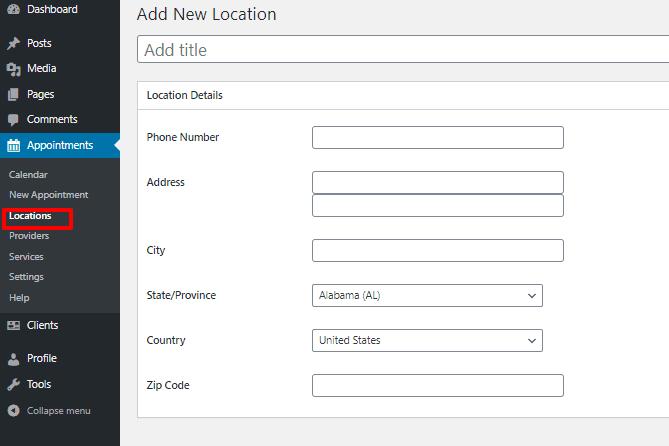 BirchPress Scheduler add location