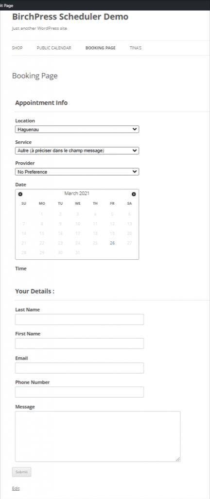 BirchPress Scheduler demo