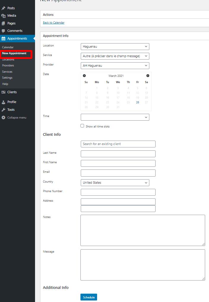 BirchPress Scheduler Appointment form
