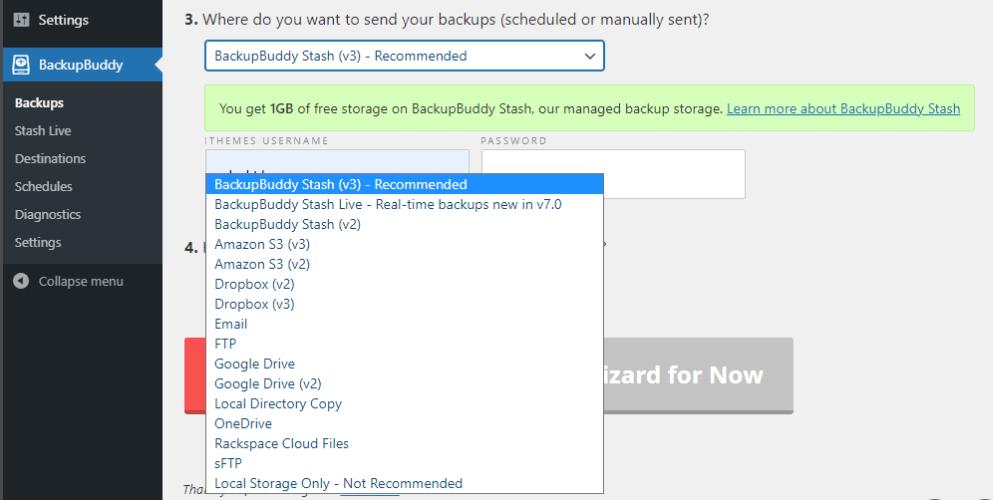 Backupbuddy storage destination