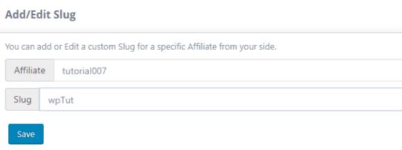 Ultimate affiliate pro custom slug
