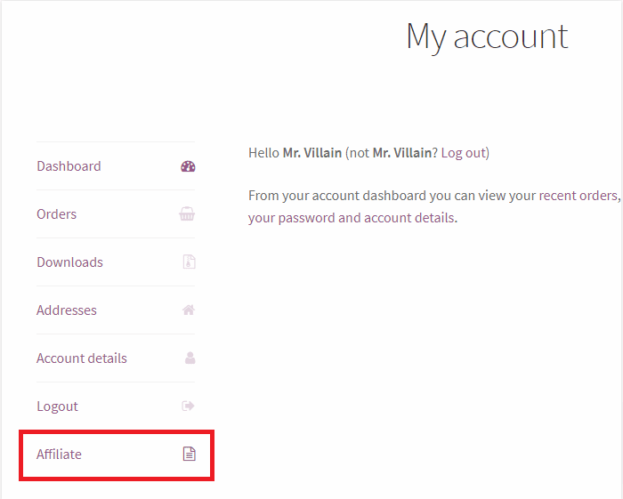 woocommerce account page