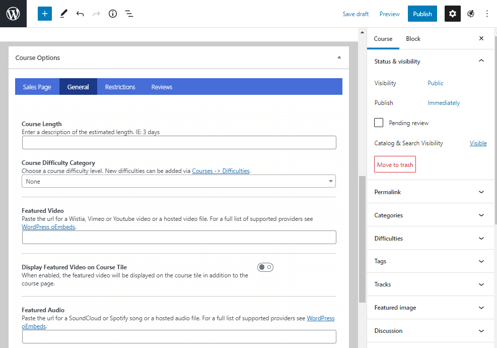 LifterLMS course option
