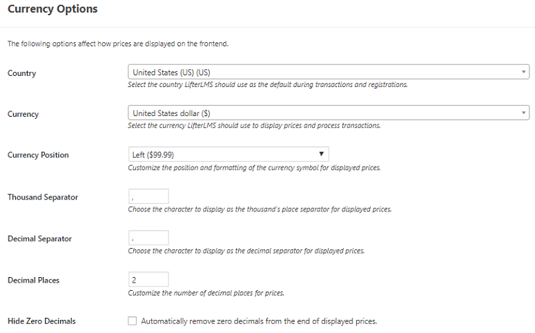 LifterLMS payment Settings