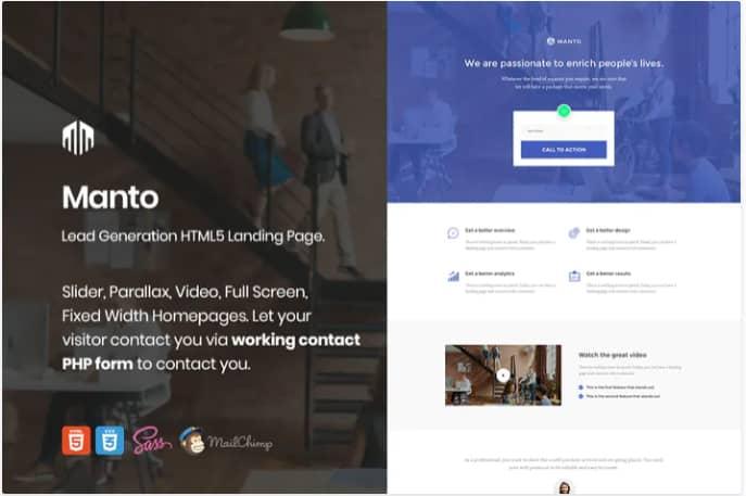 Manto lead generation landing page