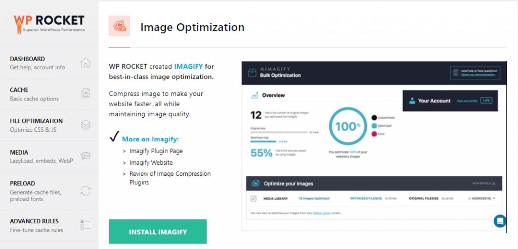 WP Rocket image optimization