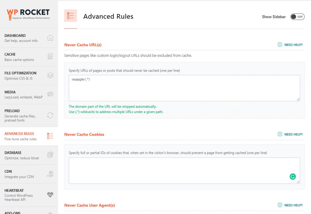 WP rocket advanced rules tab