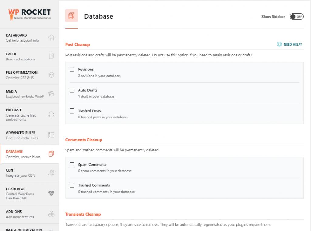 WP rocket database tab