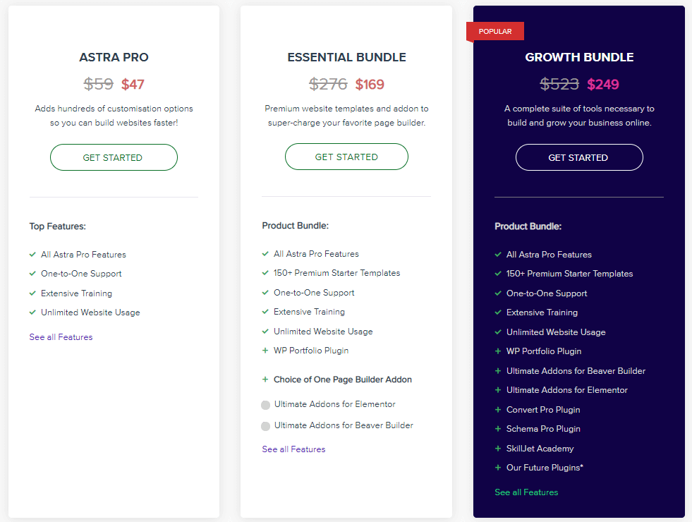 Astra theme pricing plans