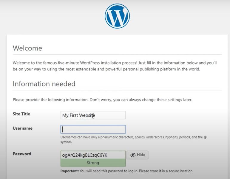 create WordPress username password