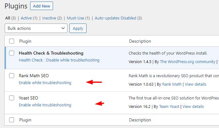 enable troubleshooting plugin
