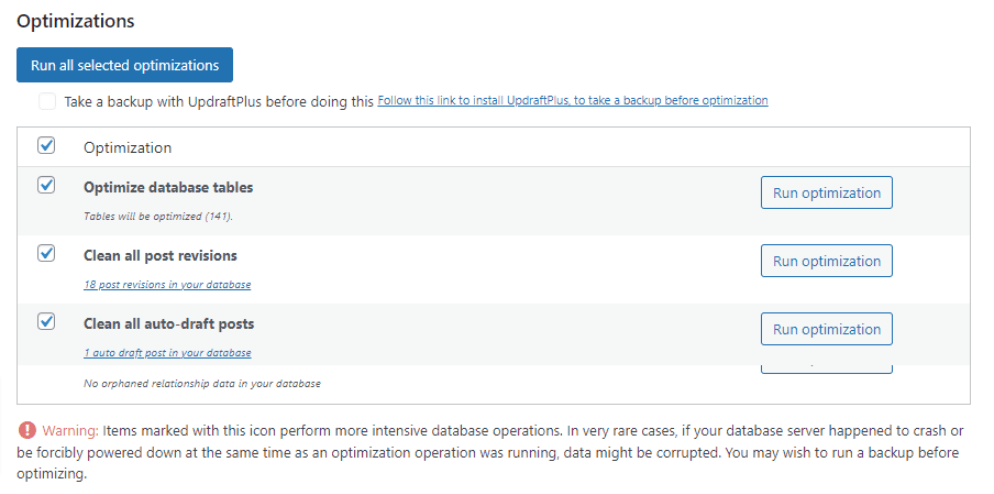 wp optimize database optimization