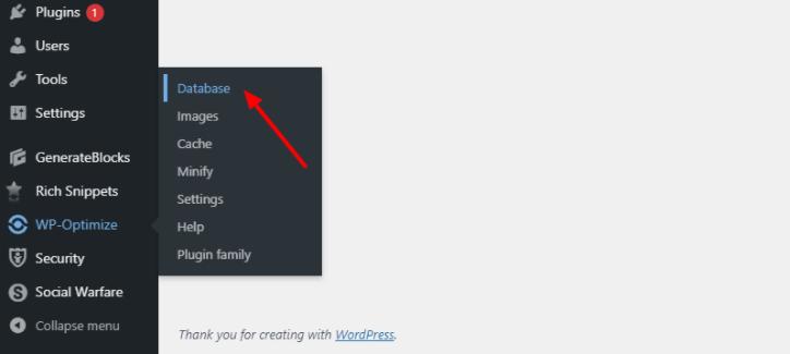 wp optimize database