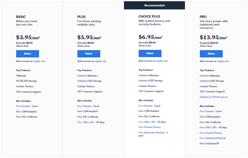 Bluhost shared hosting price